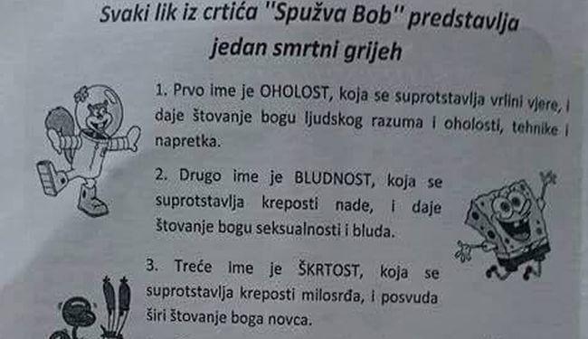 "BOJ SA SOTONAMA: Župnik poveo rat protiv ""Spužva Boba"" i joge"