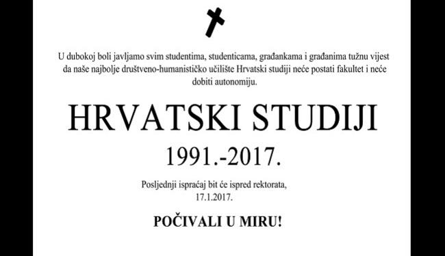 OSMRTNICA ZA HRVATSKE STUDIJE: Studenti zovu na posljednji ispraćaj ispred rektorata Sveučilišta