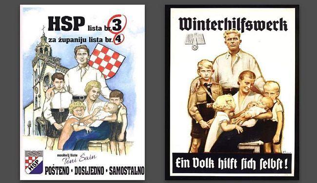 """""""NEMA OVDI NIŠTA HITLEROVSKOG"""": HSP za izbore pustio kopiju nacističkog plakata iz 1938. godine"""