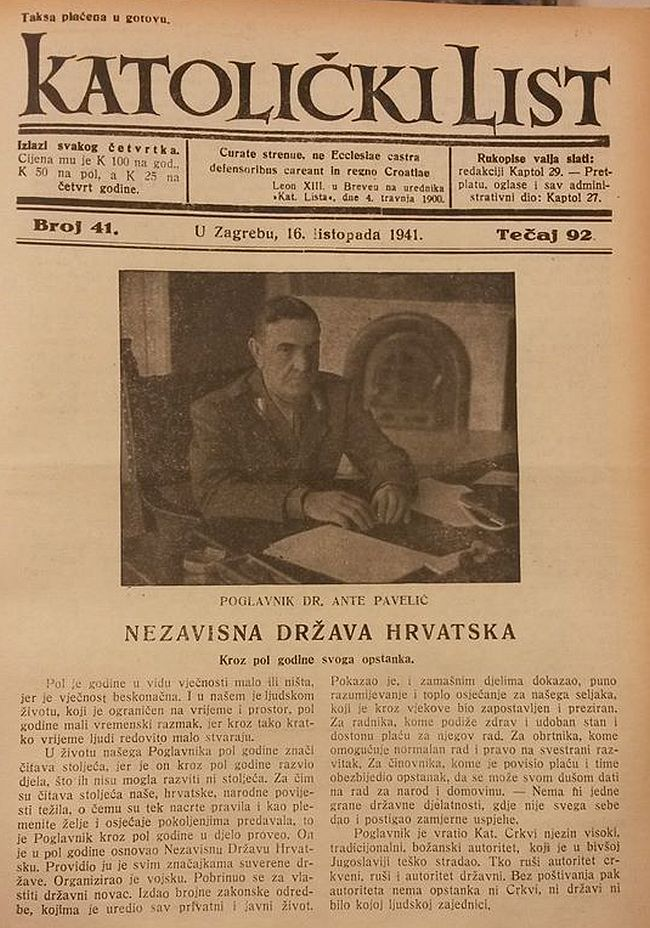 Katolički list Ante Pavelić