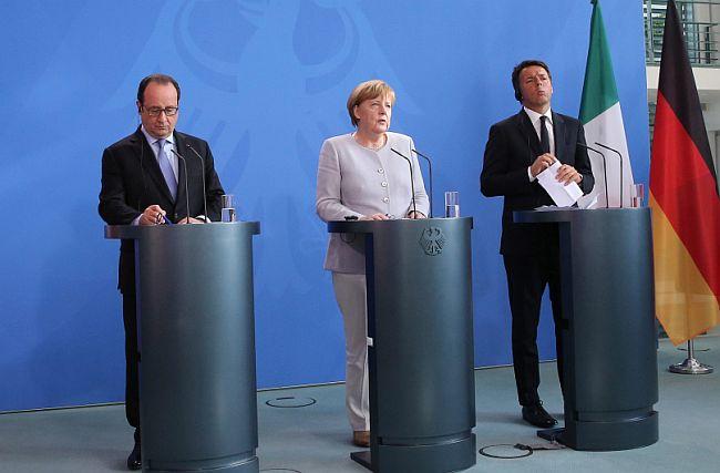 Angela Merkel Francois Hollande Matteo Renzi