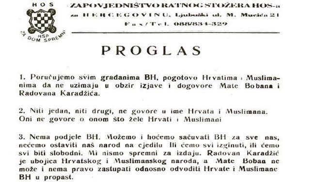 POMOZITE HRVATSKOJ DA OBJASNI OVAJ PROGLAS: Je li zbog ovog ubijen Blaž Kraljević, zapovjednik HOS-a u BiH?