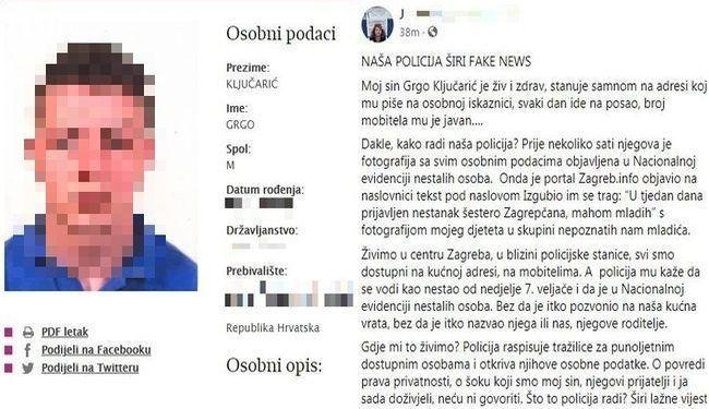 BIZARNOST IZ POLICIJSKE RADIONICE: Sina novinarke vode kao nestalu osobu, objavili su mu i sliku, a on je kod kuće