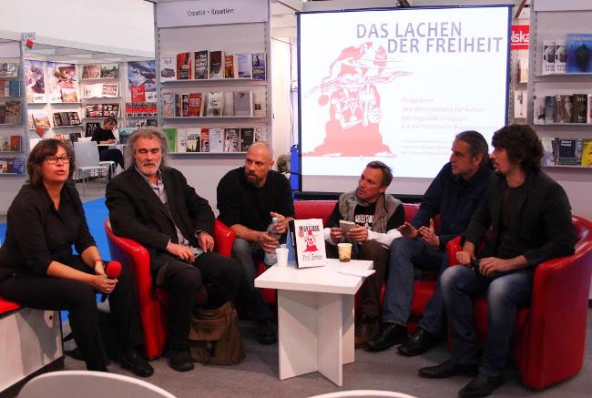 Viktor Ivančić, Boris Dežulović, Boris Pavelić i Predrag Lucić tijekom promocije