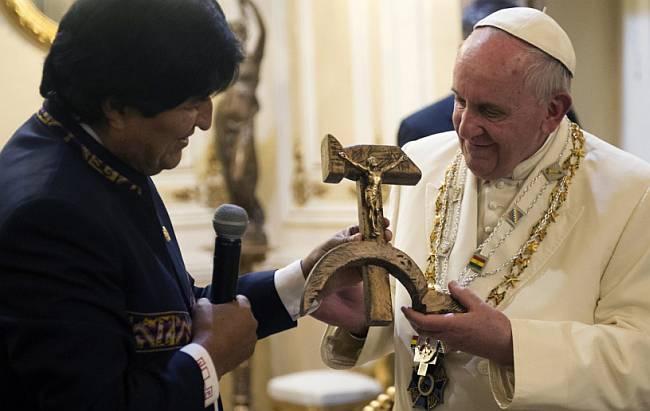 Evo Morales i papa Franjo