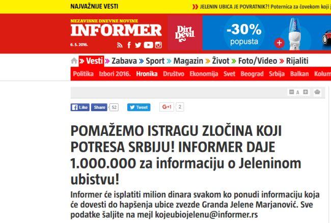 Informer naslovnica Jelena Marjanović
