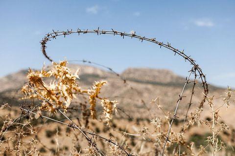 """Simbolička fotka zadnjih 100 godina Kurdistana. Poslovica kaže """"Kurdi nemaju drugih prijatelja osim planina"""", koje su ovdje pak okrunjene bodljikavom žicom, zato što baš kroz te prijateljske planine prolaze granice četiriju zemalja"""
